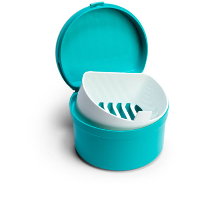Denture pot with hinged lid